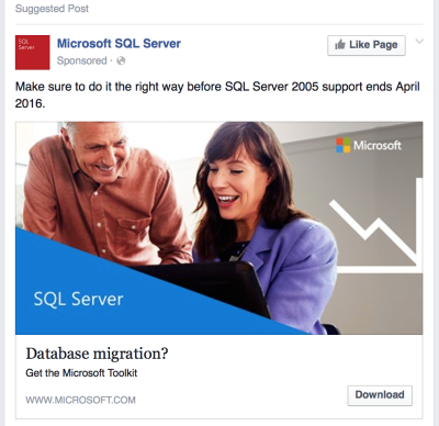 Microsoft Using Social Ads to Alert Users of SQLServer 2005 End of Life